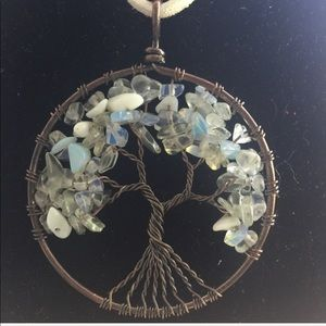 OPAL Antique Gold TREE OF LIFE PENDANT NECKLACE
